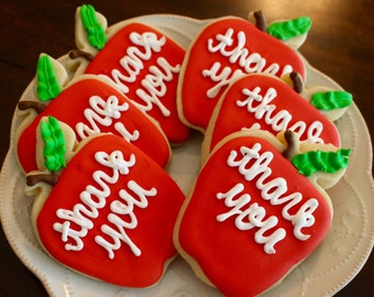 Teacher Appreciation Thank You Apple Design Cookies - 1 Dozen