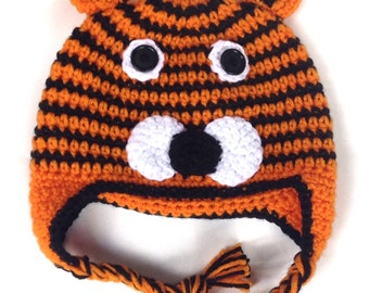 Tiger Earflap Crochet Hat With or W/O Bow-FREE SHIPPING!-Multiple Sizes Available