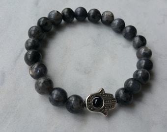 Labradorite Hamsa hand bracelet