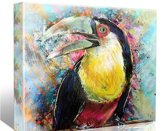 Toucan Art, Bird Canvas, Tropical painting