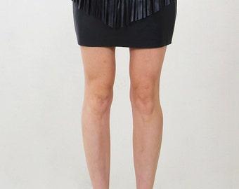 Wild West Leather Fringe Skirt