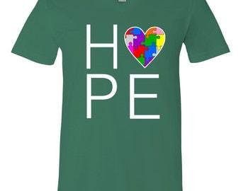 Hope Love Autism V-Neck T-Shirt