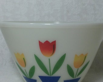Vintage Fire-King Tulip Mixing Bowl Anchor Hocking Antique Glass Serving Bowl
