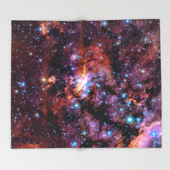 Nebula throw blanket nebula galaxy stars sky outer space for Outer space fleece