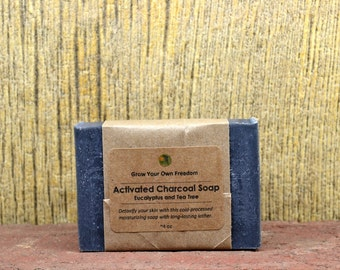 Black Soap - Activated Charcoal Soap with Eucalyptus and Tea Tree - Organic Soap