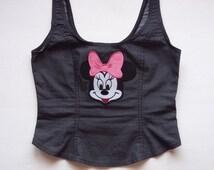 Girl Denim Minnie Shirt / Woman Jeans Corset / Teenage Girls Cartoon Shirt / Girls 90s Patches Shirt / Cute Gift For Girls / Free Shipping