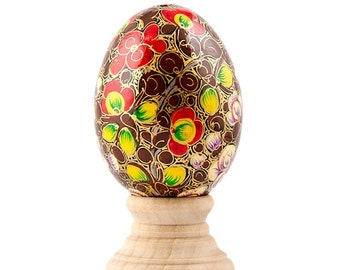 Puducherry Floral Pysanky Wooden Easter Egg- SKU # wp-54