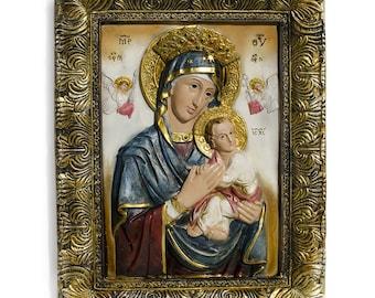 "12"" Madonna with Jesus Christ Icon- SKU # HS070201"