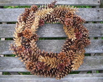 Natural Pine Cone Wreath to embellish or leave as is.  Door Wreath, Pinecone Wreath, Wall Decor, Front Door Wreath, Pinecone, Gift.