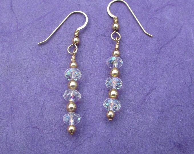 Gold fill drop earrings with clear Swarovski crystal
