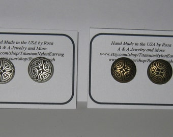 Hypoallergenic Stud/Post,Nickel Free, Button Earrings, Brass or Silver Tone Celtic Knot Earrings, Titanium posts or Nylon Posts