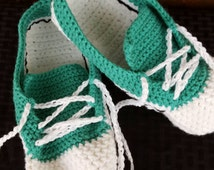 Sneaker Slippers, Crochet Sneaker Slippers, Sneaker Booties, Teal Slippers, Crochet House Shoes, Crochet Tennis Shoes, Teal, White, Shoes