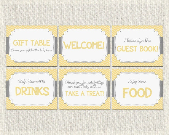 baby shower signs yellow gray grey yellow gray chevron decorations