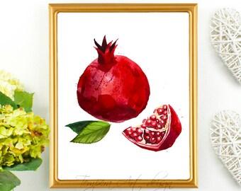 Pomegranate - Pomegranate Print - Fruit Print Art - Pomegranate Art - Pomegranate Decor - Kitchen Decor - Pomegranate Watercolor Print Art