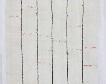 "6'x10'5"" (178x318cm) Vintage handwoven natural organic black striped white Turkish hemp kilim rug,FREE SHİPPİNG"