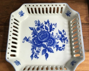 Vintage Blue and white floral filigree dish