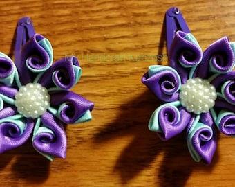 Handmade satin ribbon barettes and ponytails