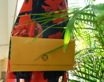 Golden Ladies Leather Travel Clutch Wallet