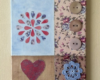 Mixed media canvas wall art, would make a lovely gift or perfect addition to any room in your home.
