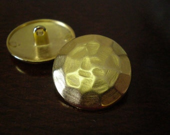 "2 - Hammered Metal Buttons with Shank 7/8"" (22mm) Gold Color"