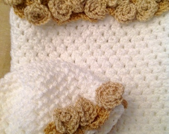 Crocheted Baby Cocoon and Hat