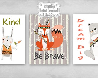 Printable Tribal Woodland Animals Nursery Wall Art Decor Be Kind Brave Dream Big Bear Fox Rabbit Baby ~ DIY Instant Download ~ 3 8x10 Prints