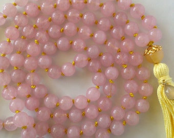 Mala Necklace- Rose Quartz