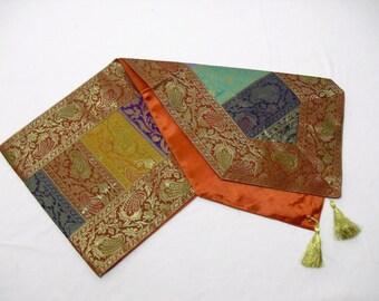 Indian Silk Table Runner in Stripe Design Orange Color 17x62 inch