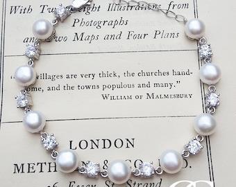"Freshwater Pearl & Cubic Zirconia Bracelet in Sterling Silver 7.5"" BRIDAL"