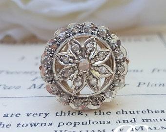 Edwardian Inspired 9ct Rose Gold & Diamond Flower Ring