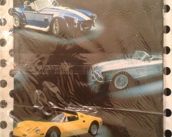 Vintage NOS Gift Wrapping Paper Classic Sports Cars