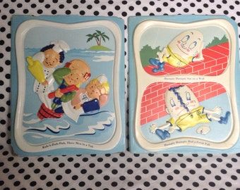 C. 1960's Nursery Rhyme Celluloid Wall Hangings Humpty Dumpty Three Men in a Tub