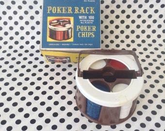 C.1970's~Poker Rack~100 Poker Chips