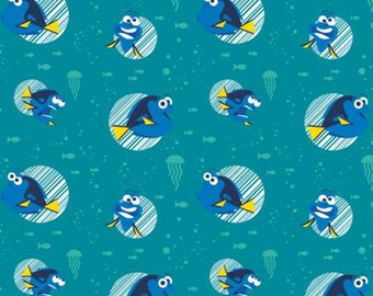 Disney Finding Dory Flannel Fabric Pixar Fabric Disney Fabric Nautical Fabric Disney Flannel Disney Quilt Teal Disney Fabric Teal Flannel
