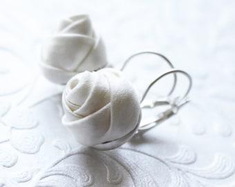 Cream silk rose earrings