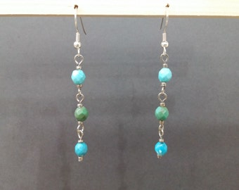 Blue and green dangle beaded earrings