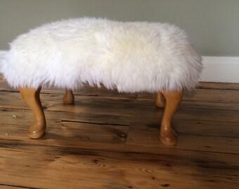 Vintage sheepskin footstool Queen Anne legs