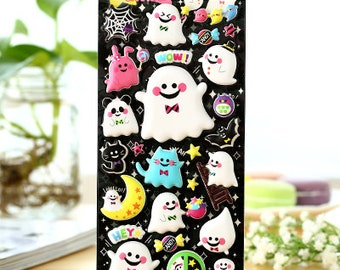 FREE SHIPPING Halloween stickers - puffy gel ghosts