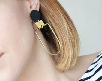 Leather Statement Earrings • Curved Brass Tube Earrings • Geometric Earrings • Long Earrings • Gift • Large Earrings •  Uk seller • Modern