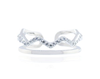 925 Sterling Silver Double And Zigzag Shape open Band Ring With CZ 0.16 CT.TW