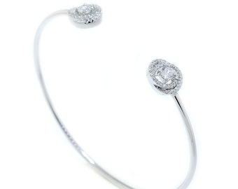 925 Sterling Silver Clear CZ Open Bangle 0.82 CT.TW (S169)