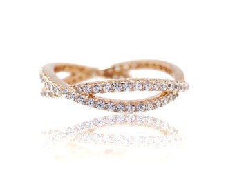 925 Sterling Silver- 14k Rose Gold Twisted Criss Cross Ring (S236)