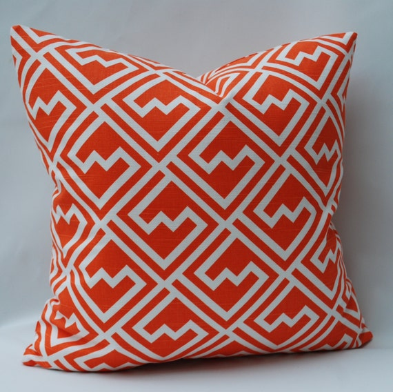Orange And White Decorative Pillows : SALE Decorative Pillow. Orange and White Geometric Design