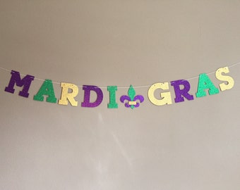 Glitter Mardi Gras Banner