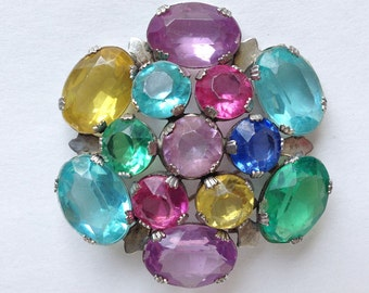 Gemstone Sterling Silver Brooch / Rainbow Rhinestone Brooch/Vintage Rhinestone Brooch/Multi-color Rhinestone Pin
