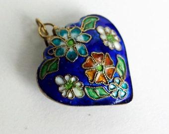 Enamel Heart Pendant / Blue Enamel Heart shaped Pendant with Flowers / Vintage Enamel Pendant