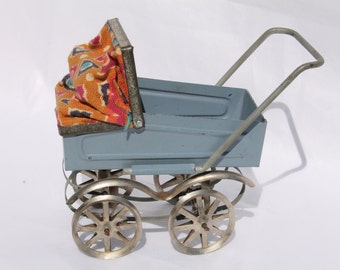Vintage Metal Dollhouse Baby Carriage