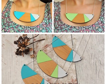 Handpainted Abstract Bib Necklace Aqua & Lime