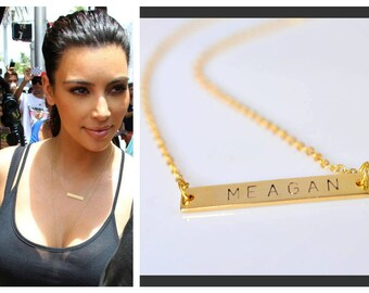 Personalized necklace, Bar necklace, Gold Bar Necklace, Name plate bar, Initial necklace, Personaized bar necklace, mother gift