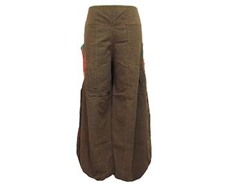 Boho Hippie Gypsy 2-Pocket Elastic Leg Opening Long Pants (F1141)
